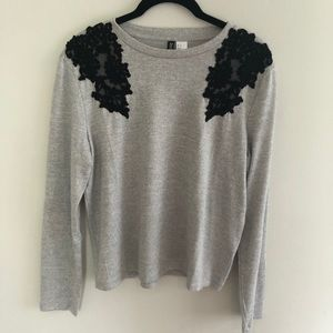 Gray Sweater w Black Embroidery